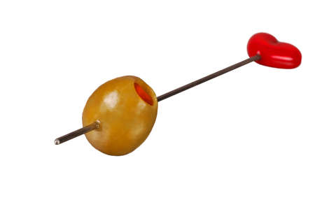 pimento: Nice Isolated Image of a Martini Olive on a Skewer