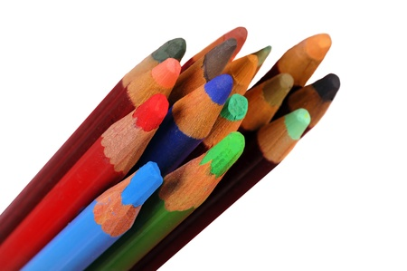 Nice isolated assortment of colored pencils on white Stock Photo - 13864816