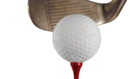 Nice Isolated Golf ball On a tee with club photo