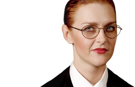 Nice Isolated Portrait of a stern business woman photo