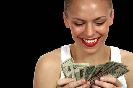 Beautiful Image of a Woman counting money photo