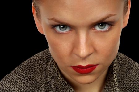 Nice striking portrait of a Intense , serious Woman