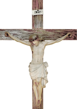 cross: Vintage church statue of jesus on the cross Stock Photo