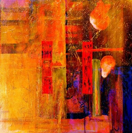 cuadros abstractos: Pintura al �leo original, Petr�leo y T�cnica mixta sobre lienzo Foto de archivo