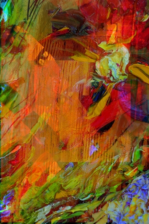 artist painting: Nice Image of a large scale Abstract oil On Canvas Stock Photo