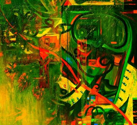 cuadro abstracto: Esta es una pintura al �leo original, Petr�leo y T�cnica mixta sobre lienzo
