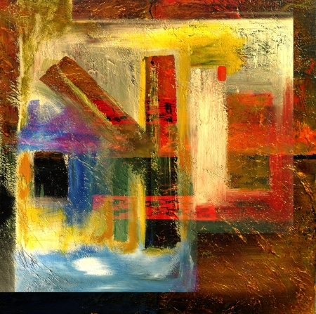 This Is an Original Oil painting,Oil and Mixed media on Canvas