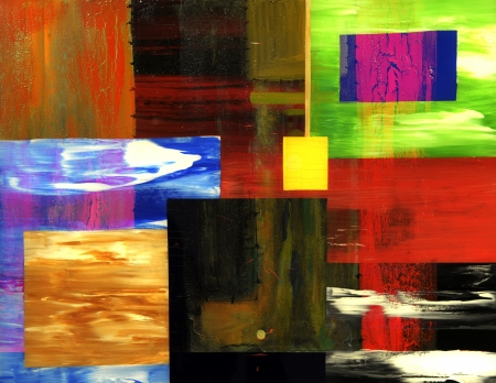 An Interesting large scale Abstract Painting On Glass photo