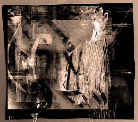 studio b: Image of an original Abstract painting On paper Stock Photo