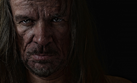 Very emotional Image of s depressed Evil man Stock Photo