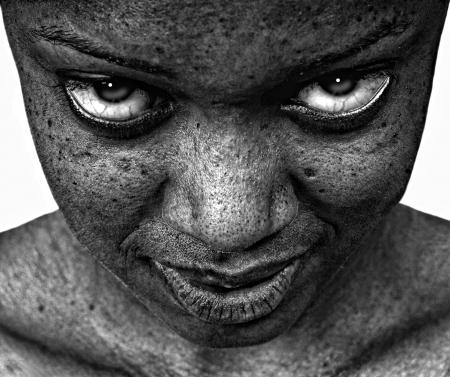 insane: Amazing Strinking Image of the eyes Afro American Woman Stock Photo