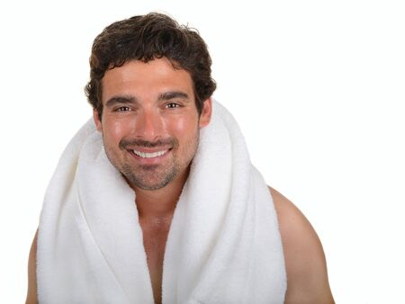 Nice Image of a man out of the shower photo