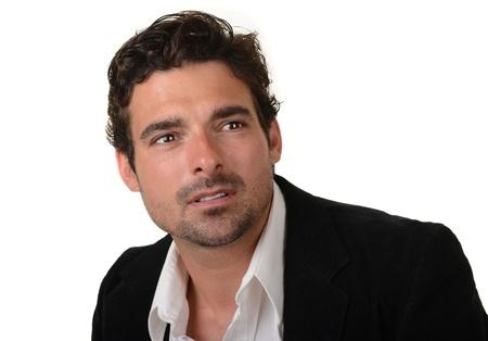 uomini belli: Bella immagine di un uomo italiano bello isolato