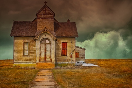 Nice Image Of a abandoned vintage Mormon church photo
