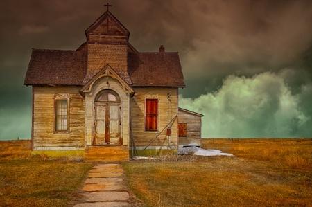 church window: Nice Image Of a abandoned vintage Mormon church