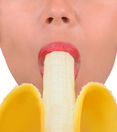 banana skin: Nice Image of a Woman with banana