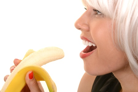 Nice Isolated Image of a Woman and her banana photo