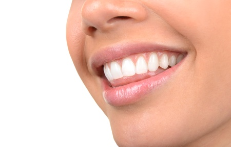 smile close up: Image of very Beautiful Clean Teeth on White Stock Photo
