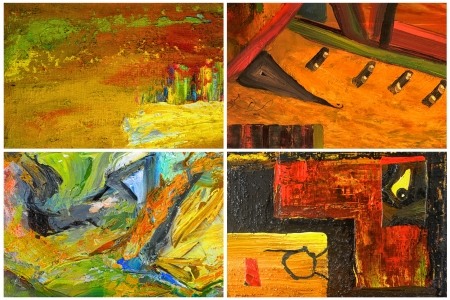 abstract paintings: Beautiful Collage collection of four Abstract paintings Stock Photo