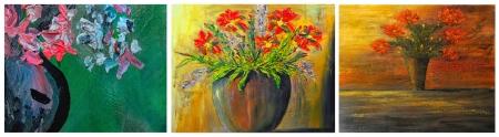 acrylic painting: Beautiful Image of three original Floral Oil paintings Stock Photo