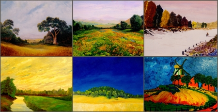 Beautiful Image of Six original landscape paintings photo