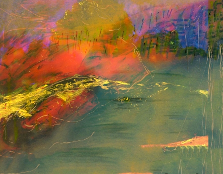 artist painting: Very Interesting Abstract image On Glass in verso Stock Photo