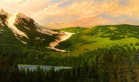 Beautiful original Oil Painting of the Northern Cascades in Washington photo