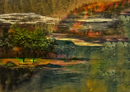 Very Nice Simple Small Scale Watercolor Abstract Landscape Painting On Paper photo