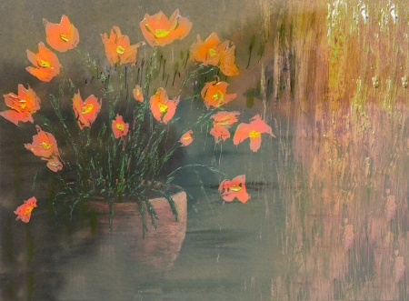 Very Nice Simple Large Scale Image of a Vase of Flowers In Oil photo