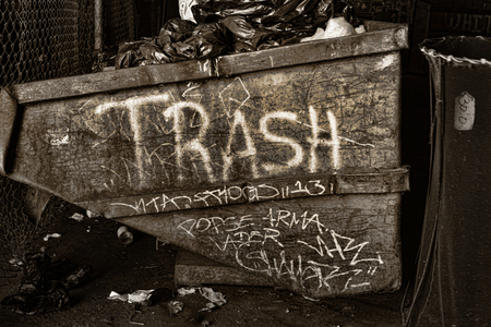 gritty: Very useful Image of a trash Dumpster in Gritty Black and white