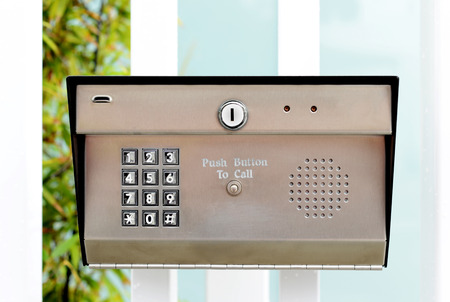 intercom: Image of a business security entry keypad