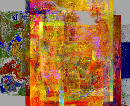 Nice image of a large scale abstract layered Composite painting photo