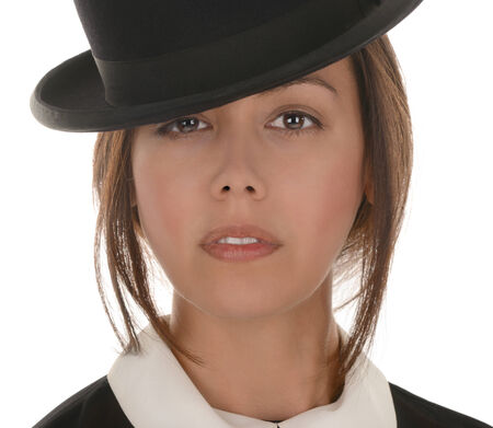 Nice Image of a latino woman with bowler Hat on white Zdjęcie Seryjne - 31245439