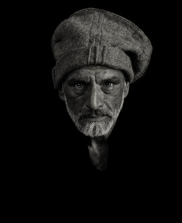 taliban: very Nice portrait of a afghan man on Black