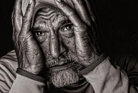 Emotional Image of a  Indian man on Black