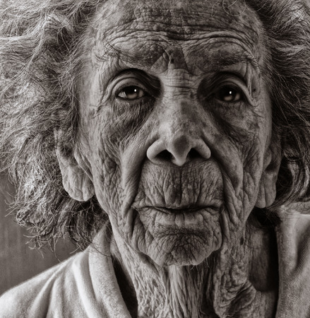 Very emotional Black and White Image of a Old woman Stock Photo