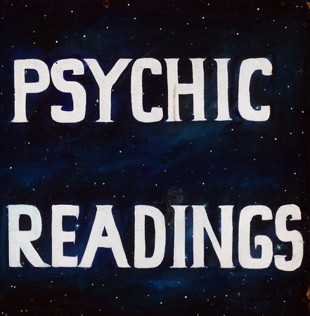 psychic: Sign for Psychic readings on Black in public