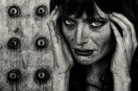 Striking Image of a Drug addicted woman photo