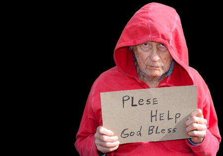 Sad Image of a senior Homeless man In Studio photo