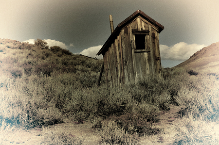 outhouse: Vintage Classic outhouse in Bodie, California Stock Photo