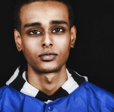 ethiopian: Nice Image of a young Ethiopian man in Stidio on Black Stock Photo