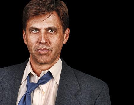 straight man: Portrait of straight forward business man on Blue