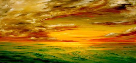 カリフォルニア州の海岸沖の美しい夕日の元の油絵