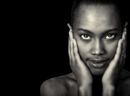 Beautiful Afro American Woman Isolated On Black