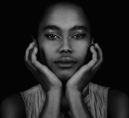 beautiful black woman: Beautiful Young Afro American Woman on Black
