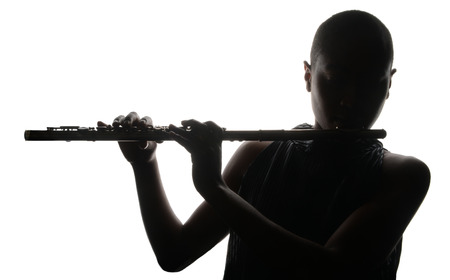 fashion silhouette: Nice Image of a woman Musician and her flute