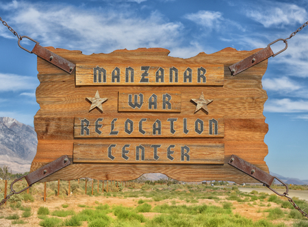 Very Nice But Sad Image of the sign at Manzanar Internment camp.