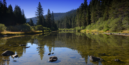 tahoe: Nice Image of the truckee River that leads into Lake Tahoe Stock Photo