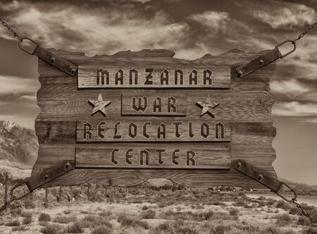 Very Nice But Sad Vintage style Image of the sign at Entrance of Manzanar Internment camp. Stock Photo