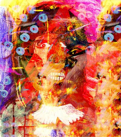femme dessin: Belle image d'une femme abstraite Pastel Technique mixte originale